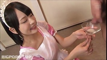 Abe Mikako has a thing for drinking fresh cum, because she likes the taste a lot